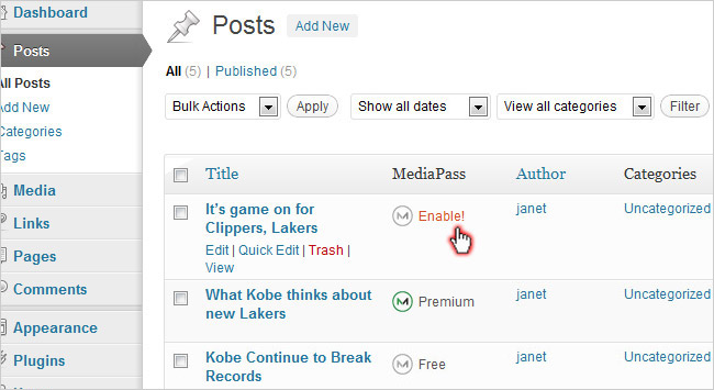 Enable subscriptions by post list