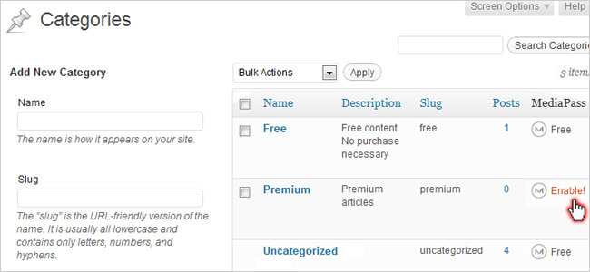 Enable subscriptions by category